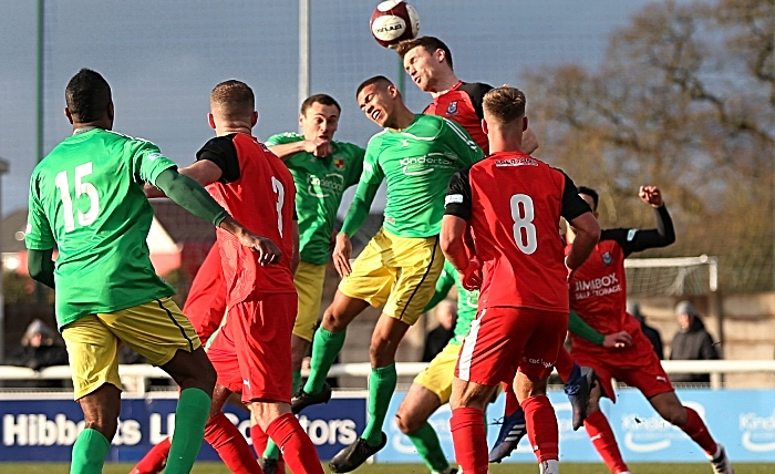 First-half - Troy Bourne fights for the ball (1)