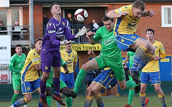 First-half - Warrington keeper Tony McMillan collects the ball (1)