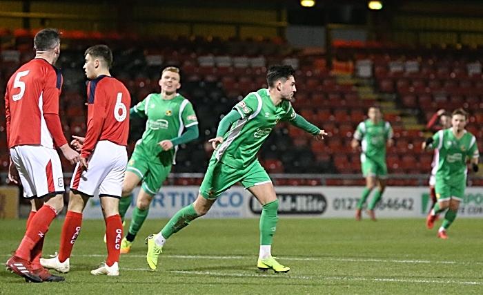 First-half - first Nantwich Town goal - Callum Saunders celebrates his goal (1)