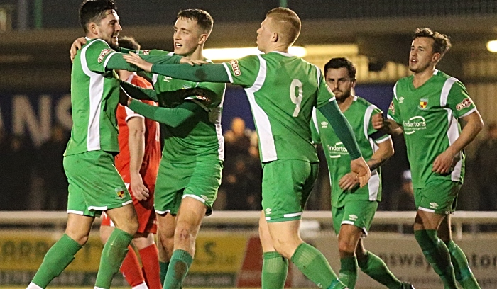 First-half - first Nantwich Town goal - Callum Saunders celebrates with teammates (1)