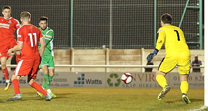 First-half - first Nantwich Town goal - Callum Saunders fires home from close range (1)