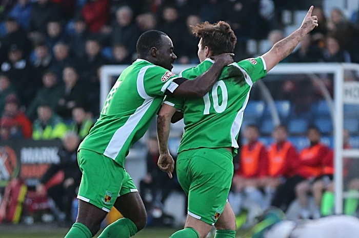 First-half - first Nantwich Town goal - Sean Cooke celebrates with Joe Mwasile (1)