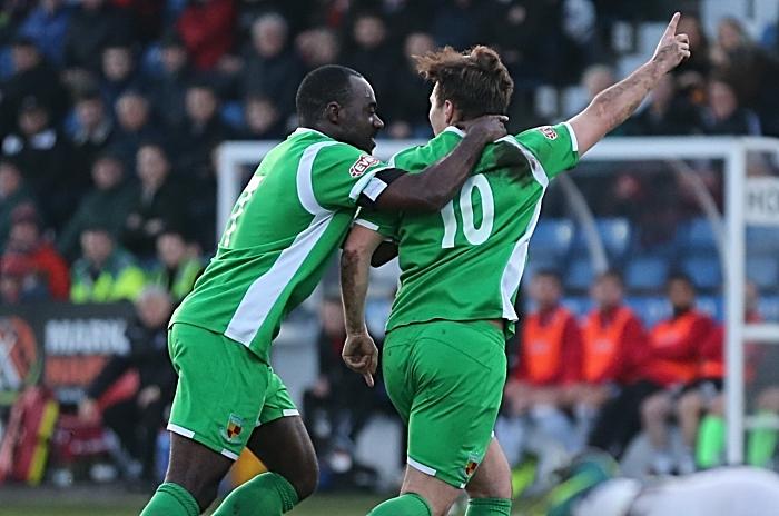 First-half - first Nantwich Town goal - Sean Cooke celebrates with Joe Mwasile (1)