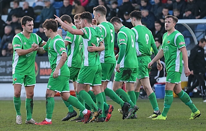 First-half - first Nantwich Town goal - Sean Cooke celebrates with teammates (1)