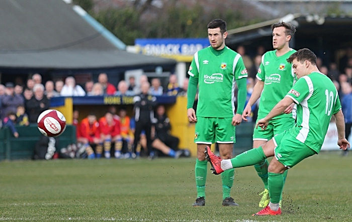 First-half - first Nantwich Town goal - Sean Cooke curls the free-kick over the wall and into the top-left corner (1)
