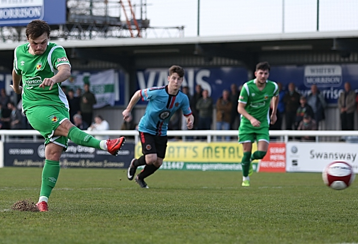First-half - first Nantwich Town goal - Sean Cooke penalty deflects off the post and Callum Saunders scores from the rebound (1)