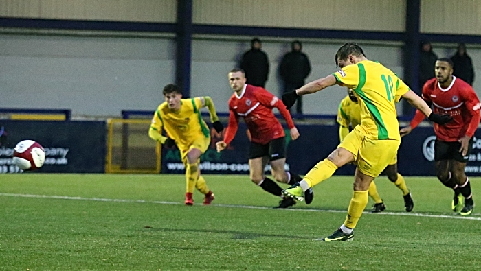 First-half - first Nantwich Town goal via a penalty from Sean Cooke