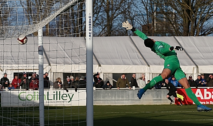 First-half - first Nantwich goal - Caspar Hughes beats South Shields keeper Myles Boney with spectacular long-range shot (1)