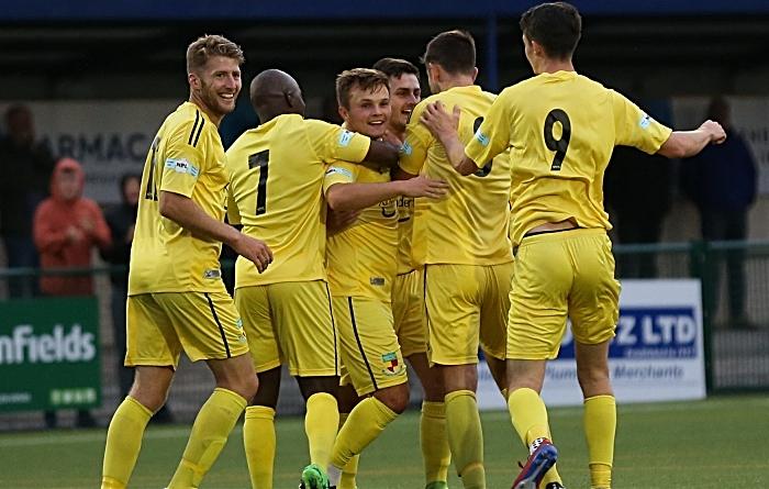 First-half - first Nantwich goal - Caspar Hughes celebrates with teammates v Buxton
