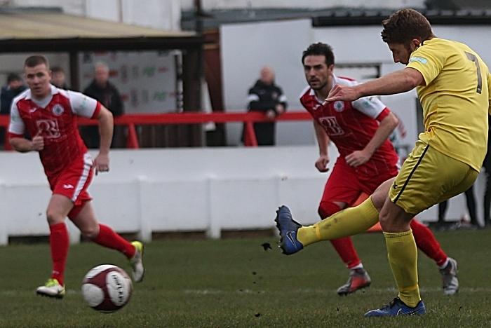 First-half - first Nantwich goal - James Lawrie (1)