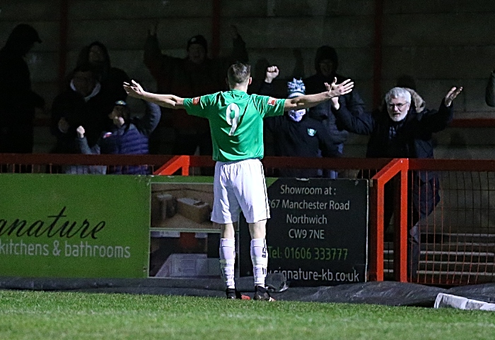 First-half v Witton - first Nantwich goal - Scott McGowan celebrates his goal with fans (1)