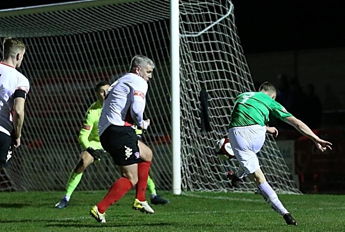 First-half - first Nantwich goal - Scott McGowan shoots and scores (1)