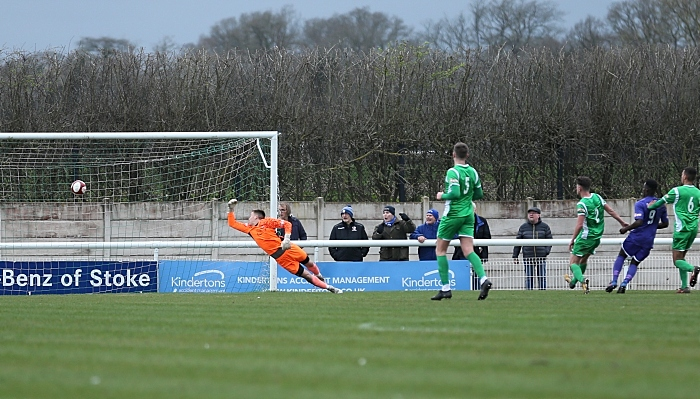 First-half - first Stalybridge goal - controversial goal from Neil Kengni (No.9) as Matt Bell floored with a head injury (1)