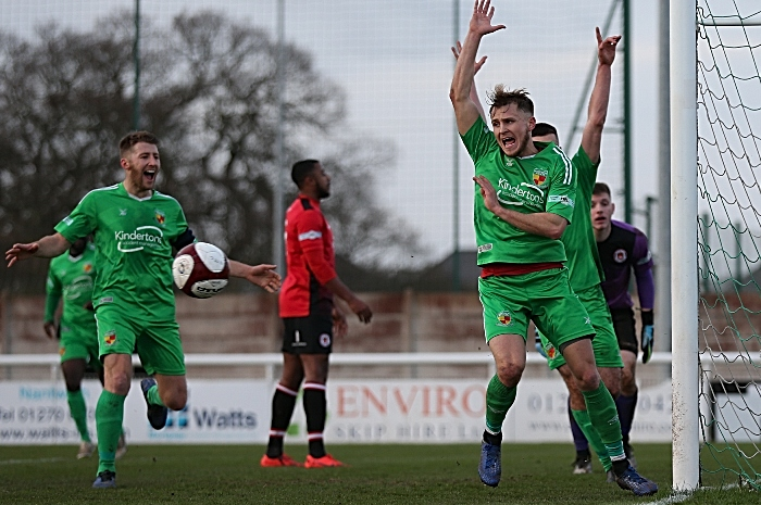 First-half - fourth Nantwich Town goal - David Webb celebrates his goal (1)