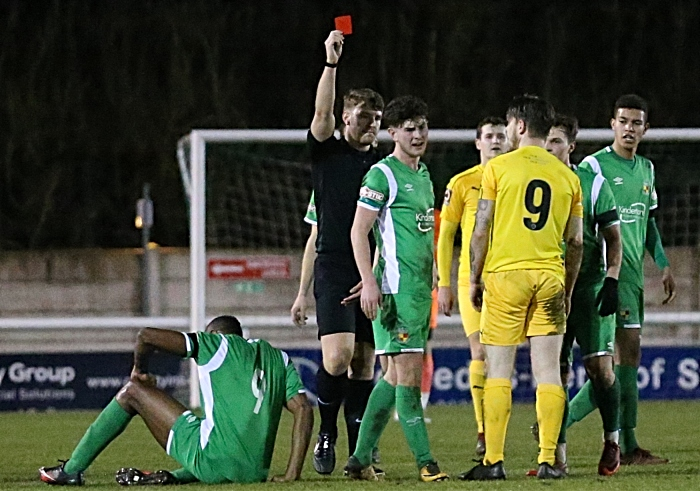 First-half - red card for Chester FC number 9 George Green (1)