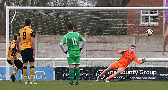 First-half - second Congleton Vale Rovers goal via penalty from No.10 Damon Oakes (1)