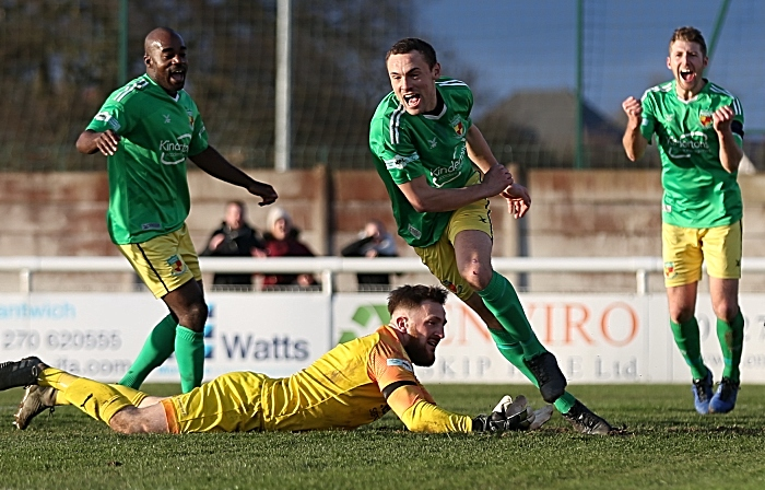 First-half - second Nantwich Town goal - Joel Stair celebrates his goal (1)