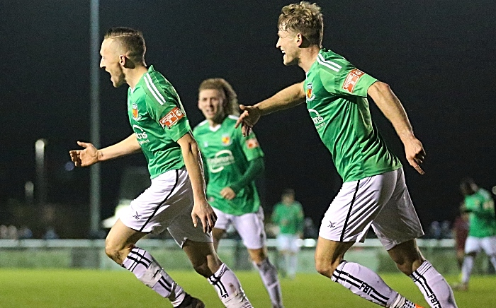 First-half - second Nantwich Town goal - Scott McGowan celebrates after his goal (1) FA Trophy