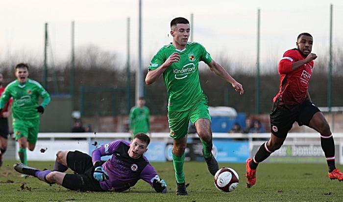 First-half - third Nantwich Town goal - Ethon Varian (his second goal) v Hyde