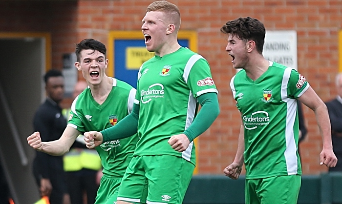 First-half - third Nantwich goal - Danny Glover celebrates his goal with Joe Malkin and Jamie Morgan (1)