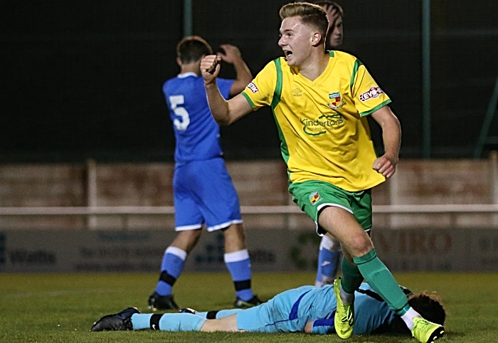 First-half - third Nantwich goal - Henry Waterer celebrates his goal (1)