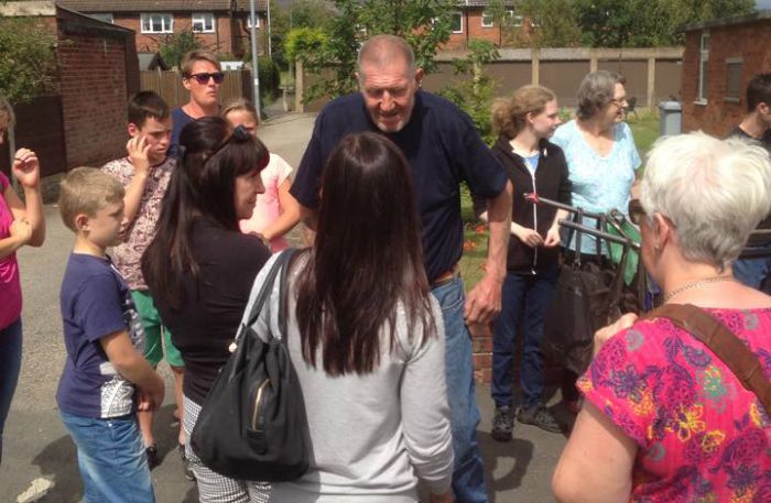Flash with his supporters in Nantwich