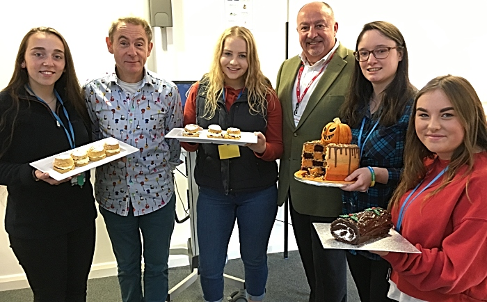Food tech students Thea Mycock, Lizzie Morris, Laura Mellor and Daisy Ford with Nigel Barden and Ian Sarson[1]