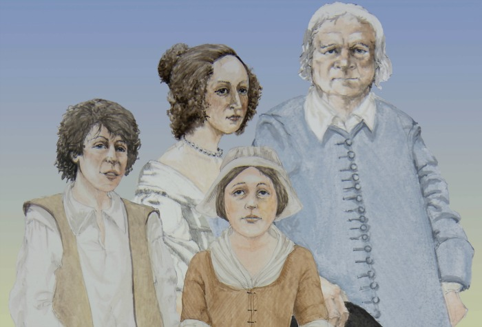 New summers talks - Four characters from Nantwich Besieged l to r John, Rachael, Elizabeth and Matthew