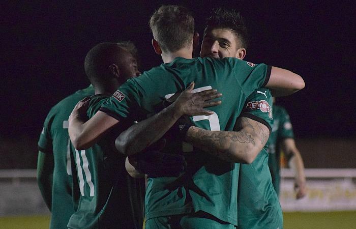 Fourth Nantwich goal - Ryan Brooke celebrates his penalty v Warrington