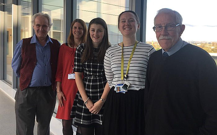 From left - Michael Horne, Dr Jenny Myers, Emma Horne, Alice Dempsey an academic clinical fellow from the research team and Ken Sambrook from Crewe Diabetes UK Group