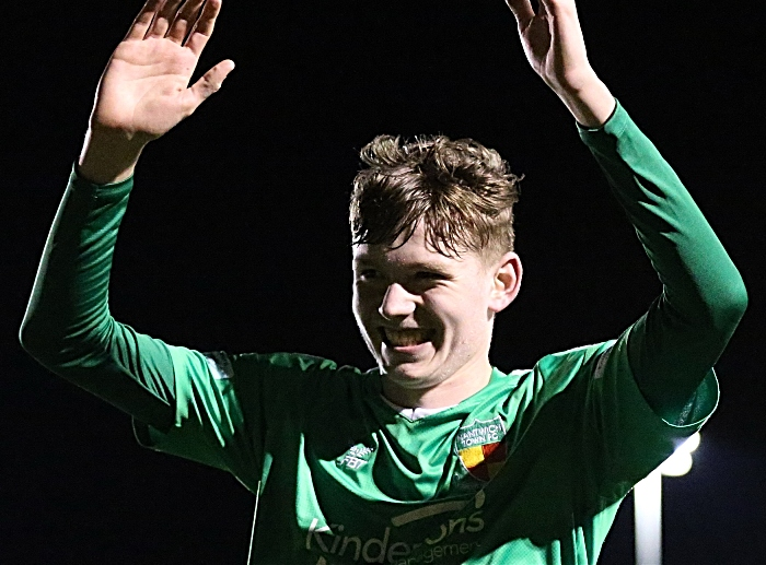 Full-time - Callum Parker celebrates his first goal and victory v Cammell Laird