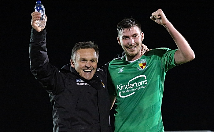 Full-time - Dabbers Manager Dave Cooke and Ben Harrison celebrate victory over Buxton