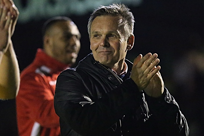 Full-time - Manager Dave Cooke celebrates victory and applauds support from fans (1)