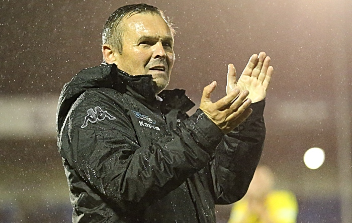 Full-time - Manager Dave Cooke celebrates victory with the fans (1)