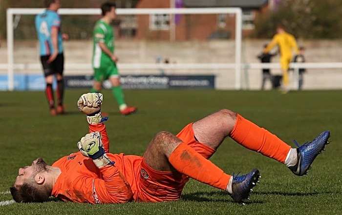 Full-time - Mickleover Sports keeper Lewis King shows his delight at the win (1)