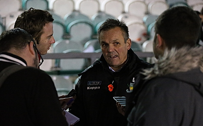 Full-time - Nantwich Town FC Manager Dave Cooke is interviewed by the media (1)