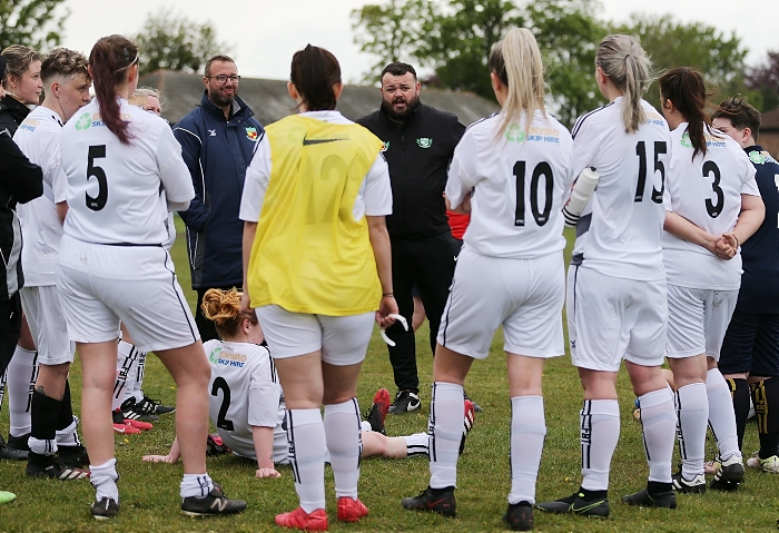 Full-time - Nantwich Town Ladies Manager Chris Broad congratulates the players at the end of their inaugral season (1)
