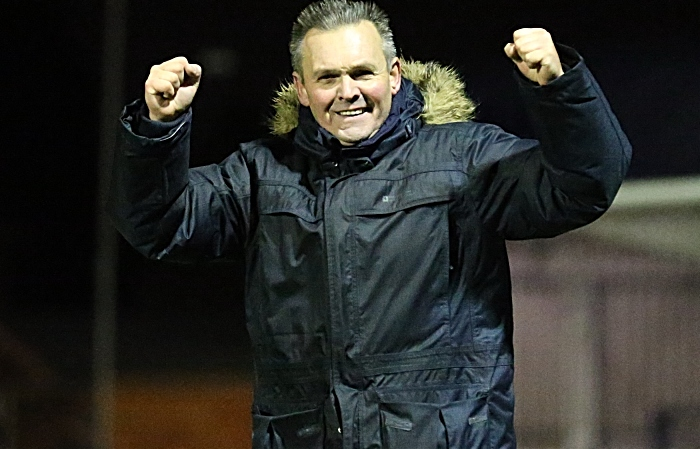Full-time - Nantwich Town Manager Dave Cooke celebrates the victory and top of the table at Christmas