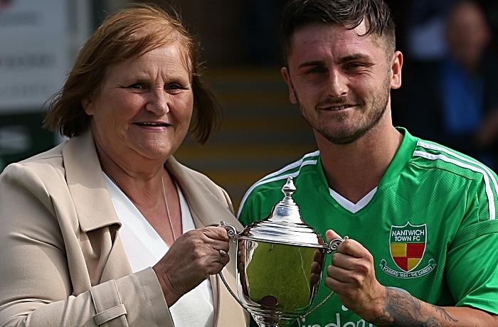Full-time - Nantwich Town captain receives the Barry Daly Memorial Trophy from Barry's wife (1)