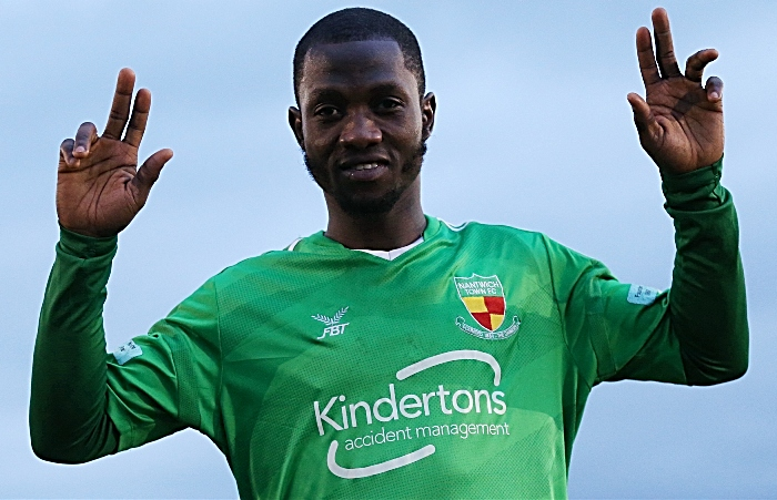 Full-time - Prince Haywood celebrates a winning debut for the Dabbers (1)