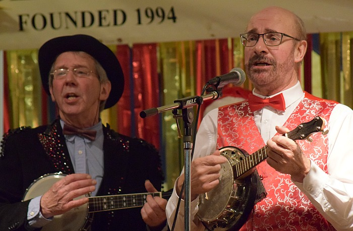 George Formby Ukulele Society Musicians perform Leaning on a Lamp-post