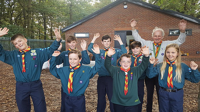 TBM rail donation - Gerald Newbrook Honorary Group President and scouts from Wistaston 35th Scout Troop