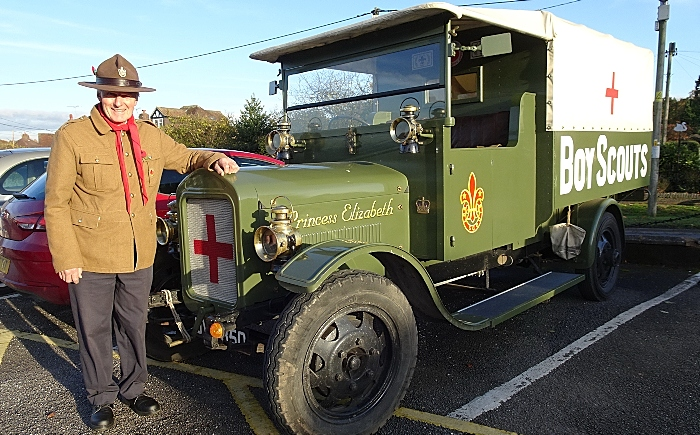 Gerald Newbrook with his replica First World War Boy Scout Ambulance - aluminium cans collections