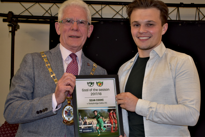 Goal of the season - Sean Cooke vs Stalybridge Celtic - Mayor of Cheshire East Councillor Arthur Moran presents award to Sean Cooke