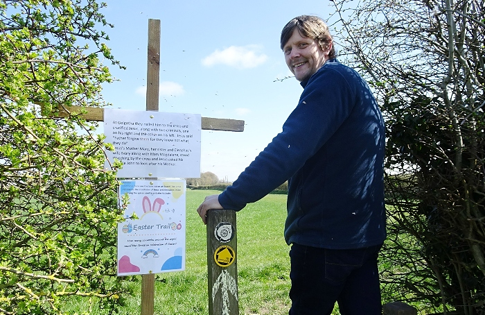 Good Friday - visitor Andrew Feltham crosses a stile on the Easter Trail (1)