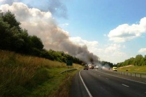 Fire on lorry full of hay closes A500 Shavington bypass