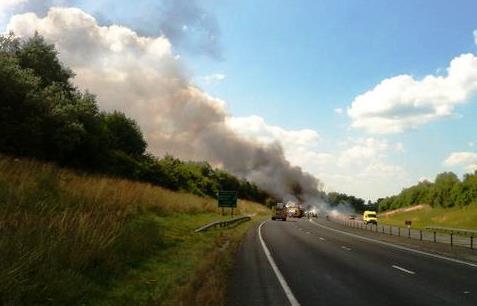 HGV fire on A500 Shavington bypass
