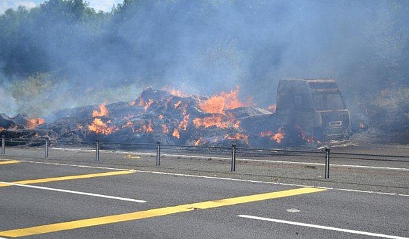 HGV hay fire on A500 nr Nantwich