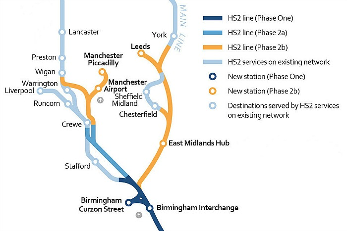 hub station at crewe - HS2 phase 2 map with key, Midlands to Crewe