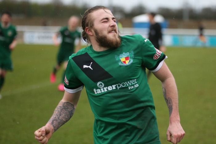 Harrop celebrates winner - Nantwich Town 2-1 Barwell 26.03.16 18